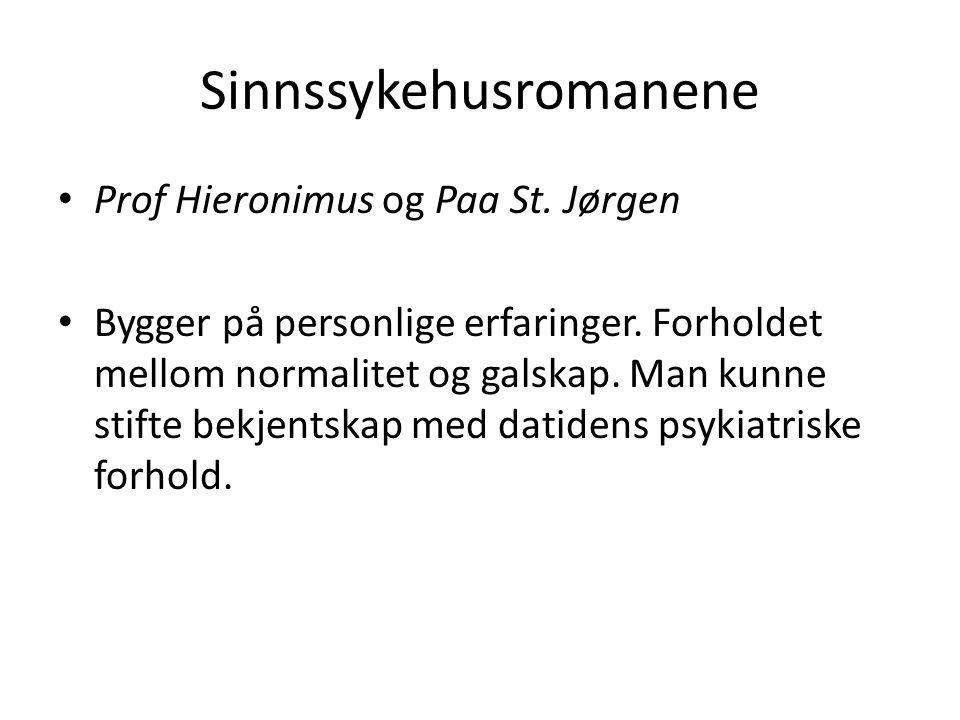 Sinnssykehusromanene Prof Hieronimus og Paa St. Jørgen Bygger på personlige erfaringer.