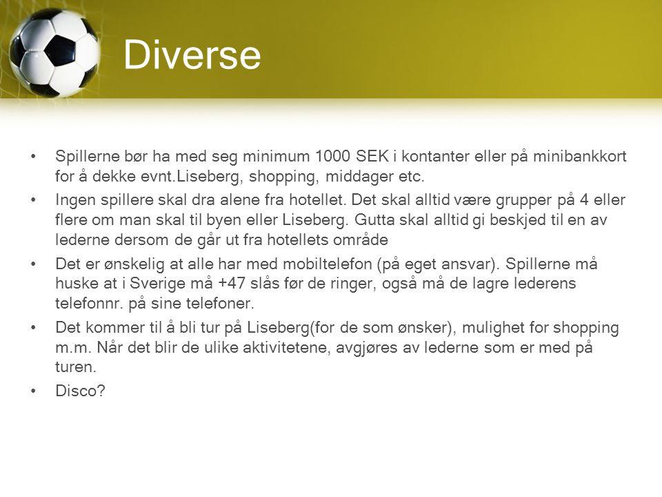 Diverse Spillerne bør ha med seg minimum 1000 SEK i kontanter eller på minibankkort for å dekke evnt.Liseberg, shopping, middager etc.