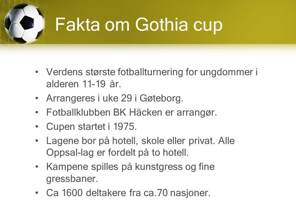Fakta om Gothia cup Verdens største fotballturnering for ungdommer i alderen 11-19 år.