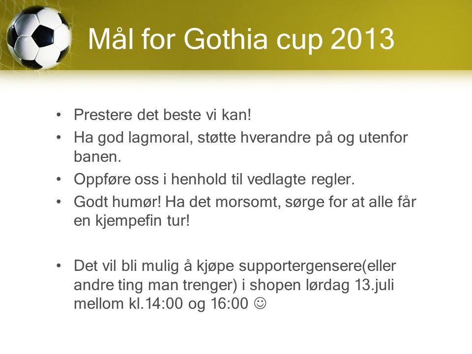 Mål for Gothia cup 2013 Prestere det beste vi kan.
