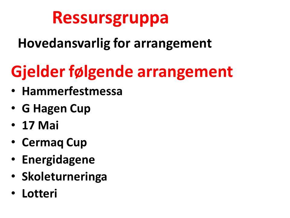 Gjelder følgende arrangement Hammerfestmessa G Hagen Cup 17 Mai Cermaq Cup Energidagene Skoleturneringa Lotteri Ressursgruppa Hovedansvarlig for arran