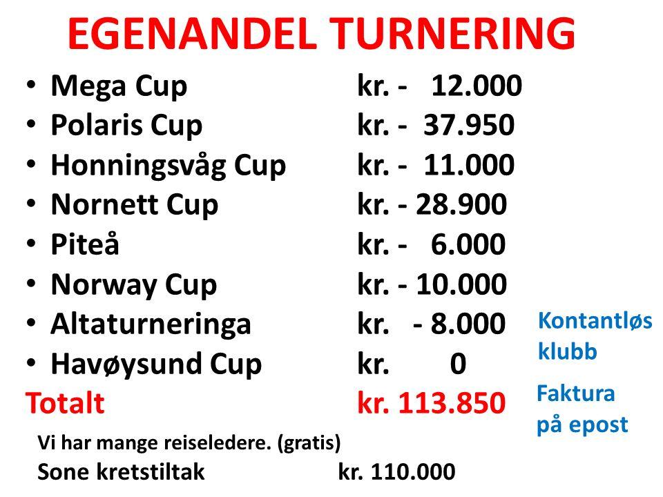 EGENANDEL TURNERING Mega Cupkr. - 12.000 Polaris Cupkr. - 37.950 Honningsvåg Cupkr. - 11.000 Nornett Cupkr. - 28.900 Piteåkr. - 6.000 Norway Cupkr. -