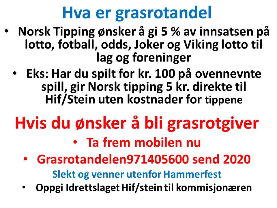 Hva er grasrotandel Norsk Tipping ønsker å gi 5 % av innsatsen på lotto, fotball, odds, Joker og Viking lotto til lag og foreninger Eks: Har du spilt for kr.