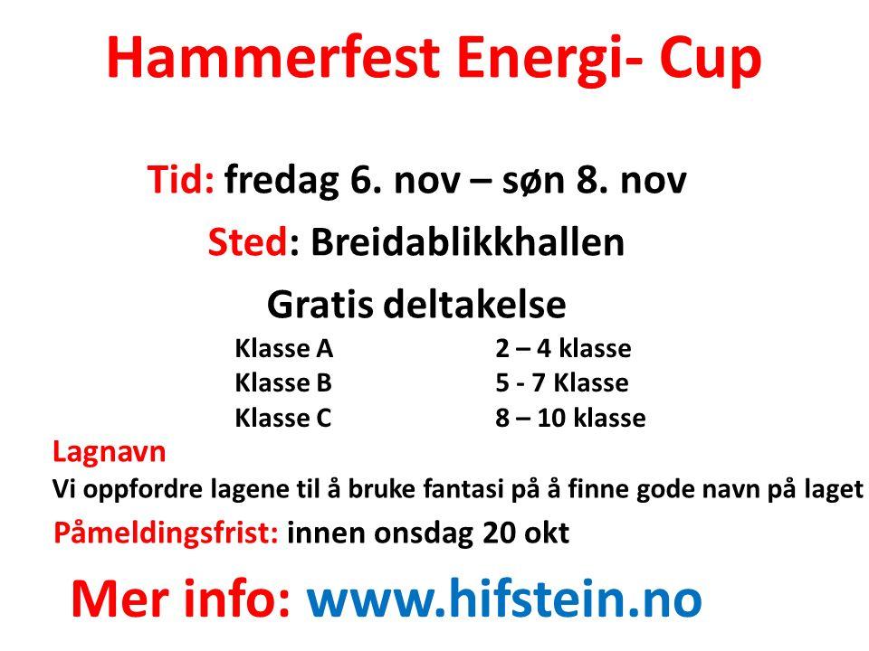 Hammerfest Energi- Cup Tid: fredag 6. nov – søn 8.