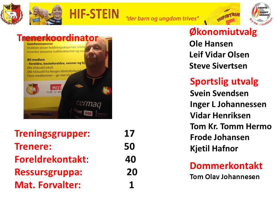 Sportslig utvalg Svein Svendsen Inger L Johannessen Vidar Henriksen Tom Kr.