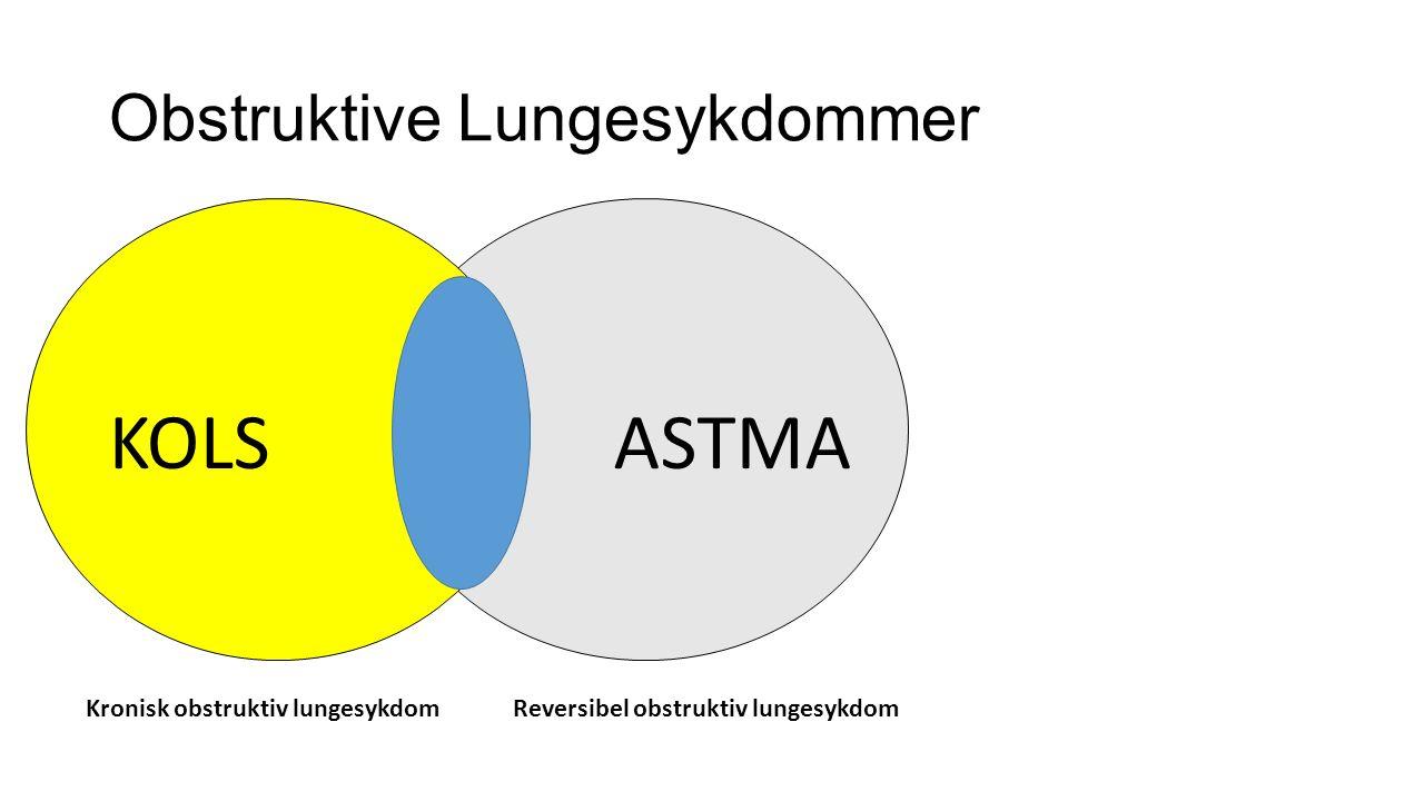 Obstruktive Lungesykdommer KOLSASTMA Kronisk obstruktiv lungesykdomReversibel obstruktiv lungesykdom