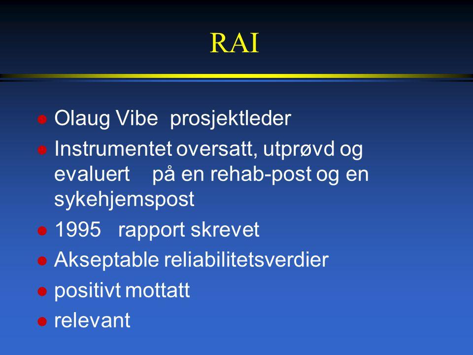 RAI l Olaug Vibe prosjektleder l Instrumentet oversatt, utprøvd og evaluert på en rehab-post og en sykehjemspost l 1995 rapport skrevet l Akseptable reliabilitetsverdier l positivt mottatt l relevant