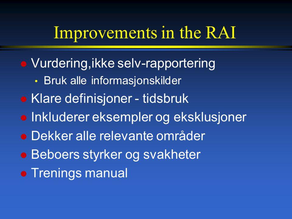 Improvements in the RAI l Vurdering,ikke selv-rapportering Bruk alle informasjonskilder l Klare definisjoner - tidsbruk l Inkluderer eksempler og eksklusjoner l Dekker alle relevante områder l Beboers styrker og svakheter l Trenings manual