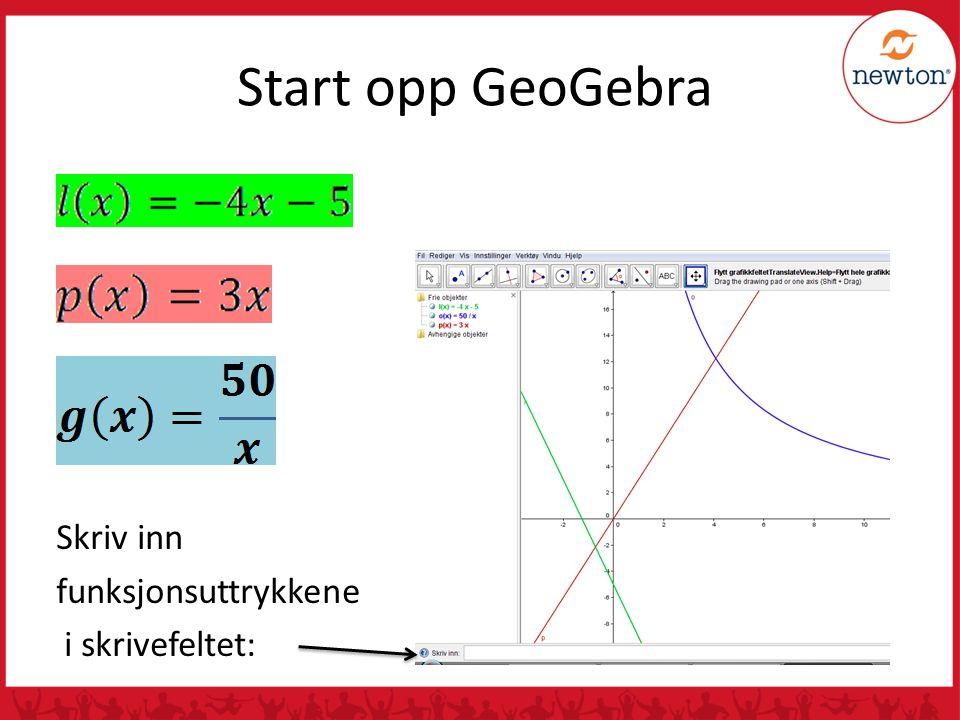 Start opp GeoGebra Skriv inn funksjonsuttrykkene i skrivefeltet: