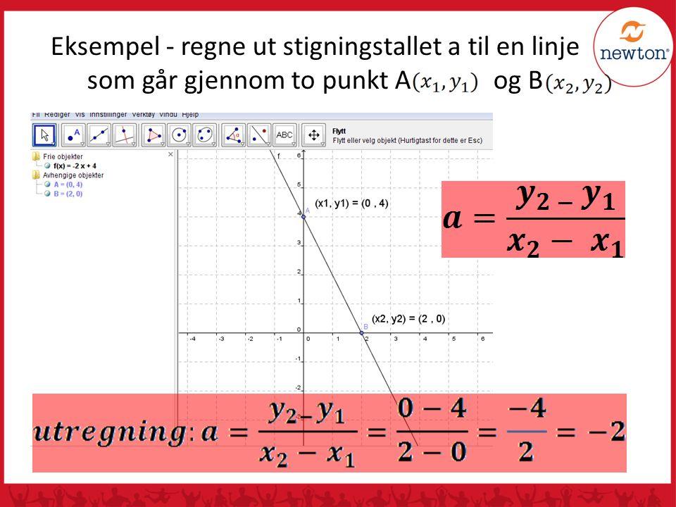 Eksempel - regne ut stigningstallet a til en linje som går gjennom to punkt A og B