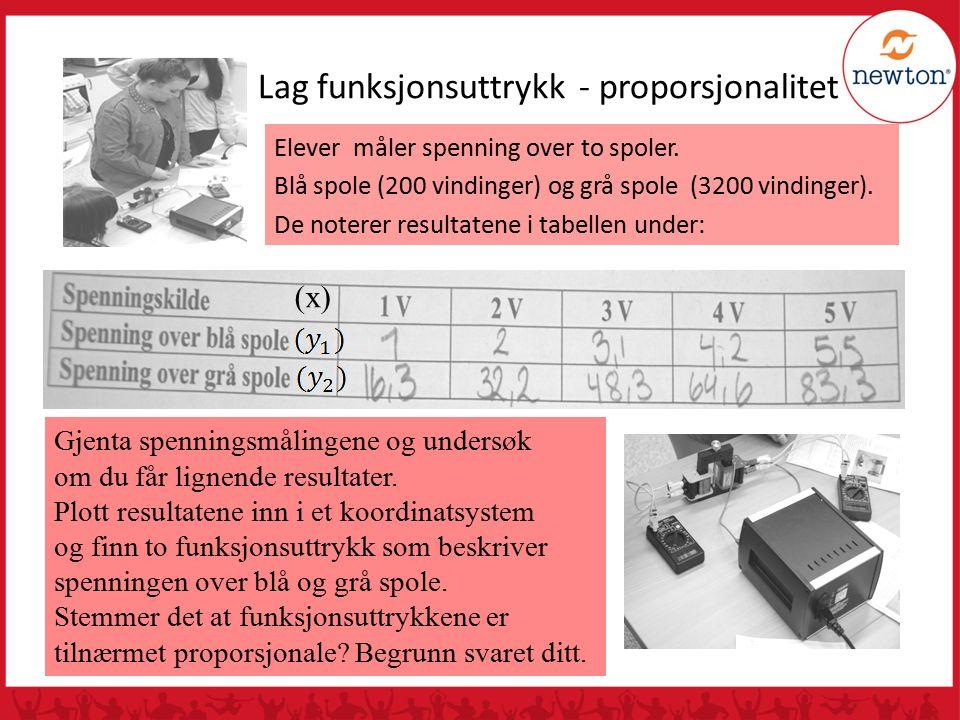 Lag funksjonsuttrykk - proporsjonalitet Elever måler spenning over to spoler.