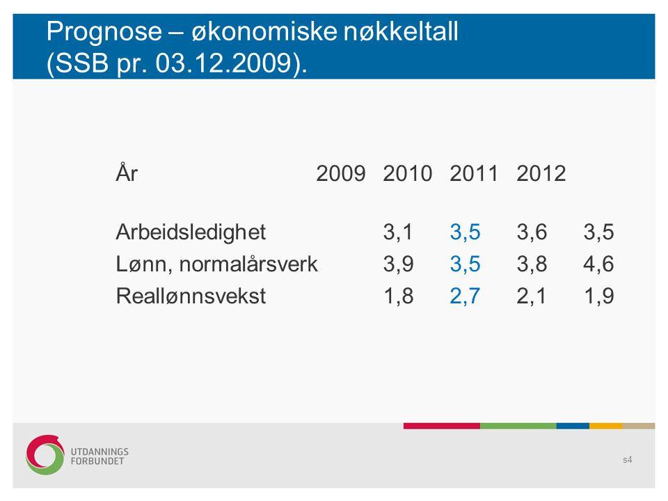 Prognose – økonomiske nøkkeltall (SSB pr. 03.12.2009).