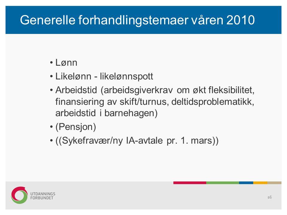 Generelle forhandlingstemaer våren 2010 Lønn Likelønn - likelønnspott Arbeidstid (arbeidsgiverkrav om økt fleksibilitet, finansiering av skift/turnus, deltidsproblematikk, arbeidstid i barnehagen) (Pensjon) ((Sykefravær/ny IA-avtale pr.