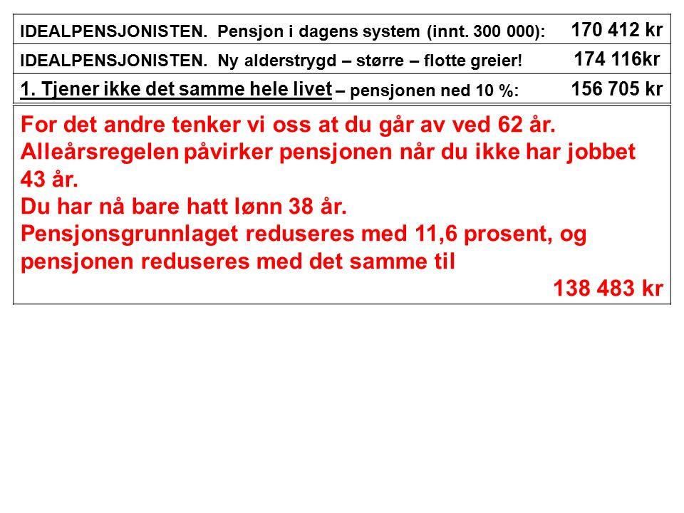 IDEALPENSJONISTEN.Pensjon i dagens system (innt. 300 000): 170 412 kr IDEALPENSJONISTEN.