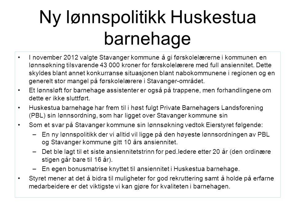 Ny lønnspolitikk Huskestua barnehage I november 2012 valgte Stavanger kommune å gi førskolelærerne i kommunen en lønnsøkning tilsvarende 43 000 kroner for førskolelærere med full ansiennitet.