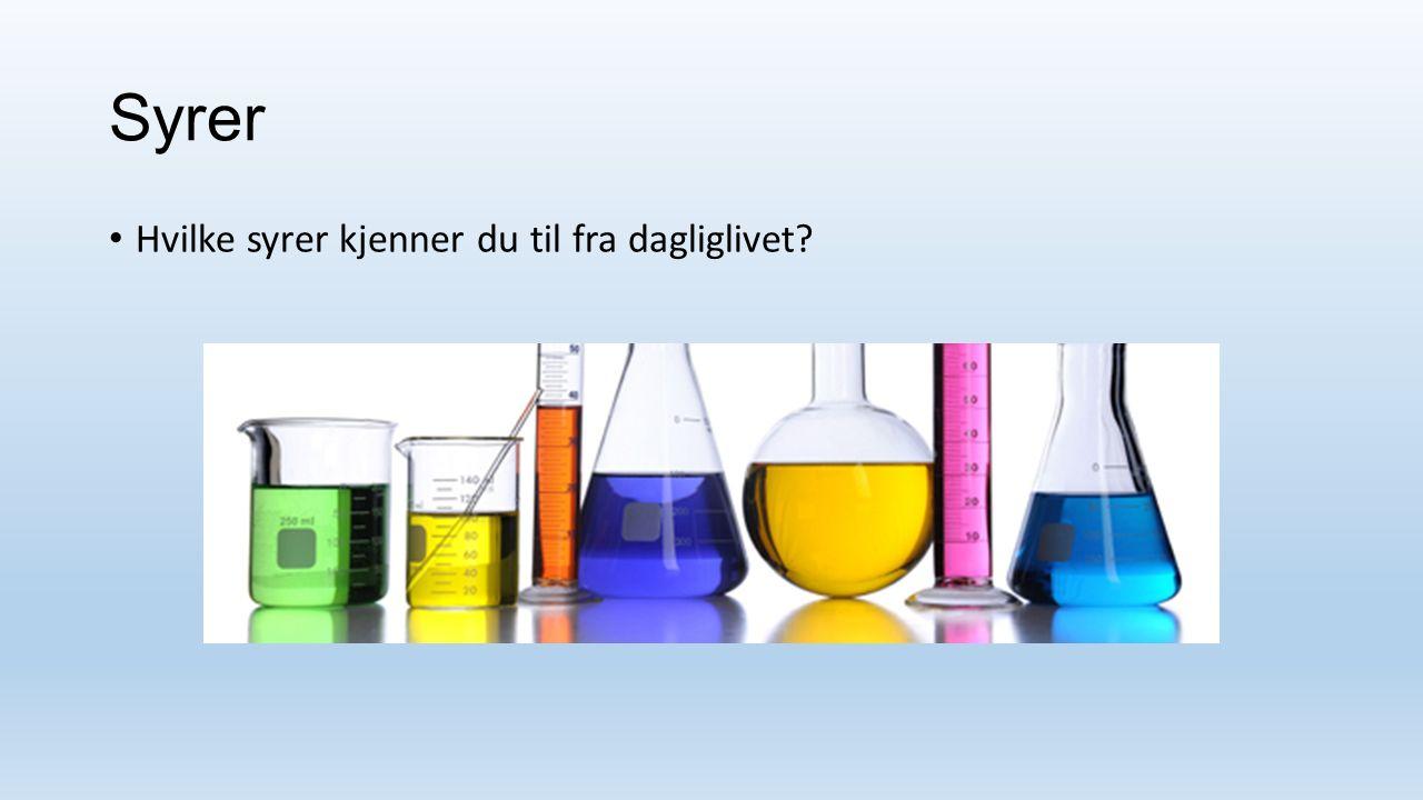 Egenskaper til sure løsninger Smaker surt.Sur løsning endrer fargen på noen væsker.