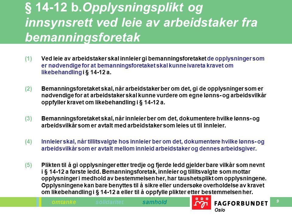 omtanke solidaritet samhold Oslo 9 § 14-12 b.Opplysningsplikt og innsynsrett ved leie av arbeidstaker fra bemanningsforetak (1)Ved leie av arbeidstaker skal innleier gi bemanningsforetaket de opplysninger som er nødvendige for at bemanningsforetaket skal kunne ivareta kravet om likebehandling i § 14-12 a.