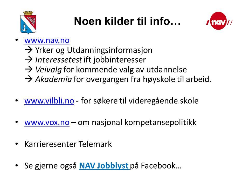 www.nav.no  Yrker og Utdanningsinformasjon  Interessetest ift jobbinteresser  Veivalg for kommende valg av utdannelse  Akademia for overgangen fra høyskole til arbeid.