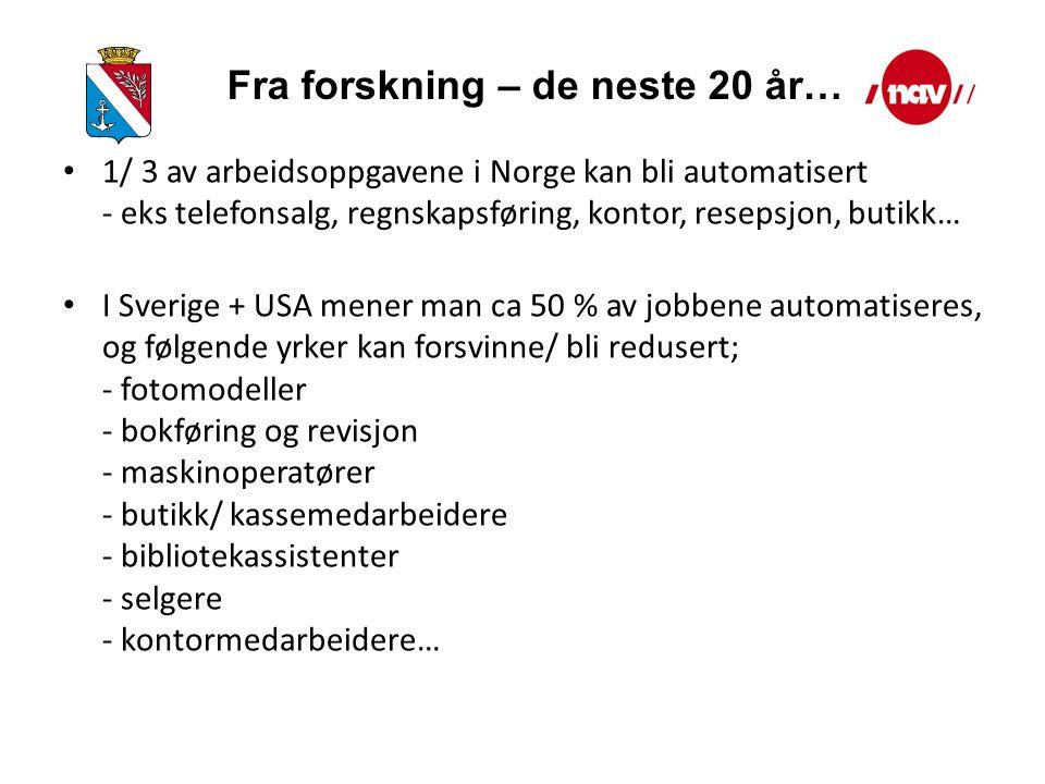 1/ 3 av arbeidsoppgavene i Norge kan bli automatisert - eks telefonsalg, regnskapsføring, kontor, resepsjon, butikk… I Sverige + USA mener man ca 50 % av jobbene automatiseres, og følgende yrker kan forsvinne/ bli redusert; - fotomodeller - bokføring og revisjon - maskinoperatører - butikk/ kassemedarbeidere - bibliotekassistenter - selgere - kontormedarbeidere… Fra forskning – de neste 20 år…