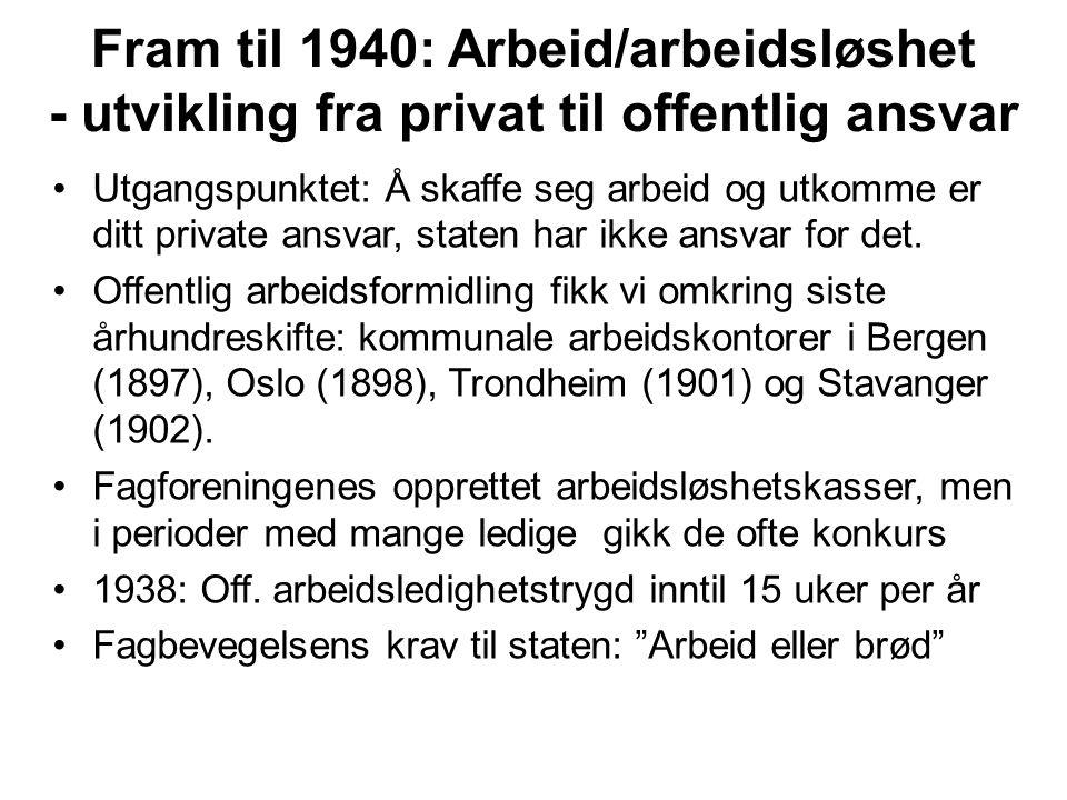 Fram til 1940: Arbeid/arbeidsløshet - utvikling fra privat til offentlig ansvar Utgangspunktet: Å skaffe seg arbeid og utkomme er ditt private ansvar,