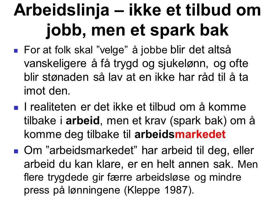 """Arbeidslinja – ikke et tilbud om jobb, men et spark bak For at folk skal """"velge"""" å jobbe blir det altså vanskeligere å få trygd og sjukelønn, og ofte"""
