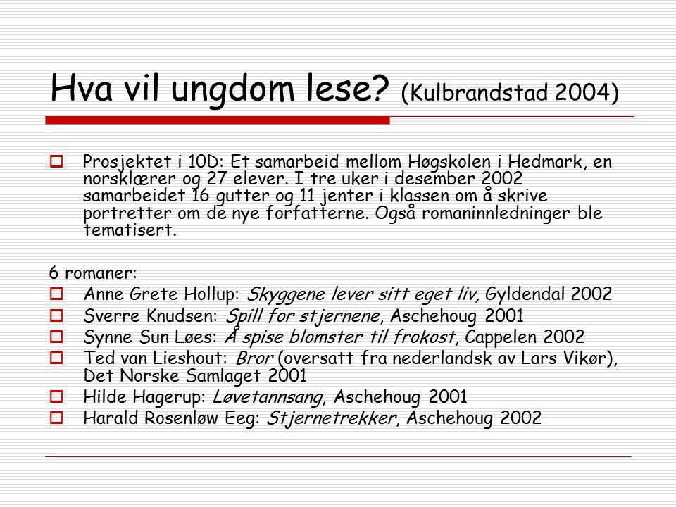 Hva vil ungdom lese? (Kulbrandstad 2004)  Prosjektet i 10D: Et samarbeid mellom Høgskolen i Hedmark, en norsklærer og 27 elever. I tre uker i desembe