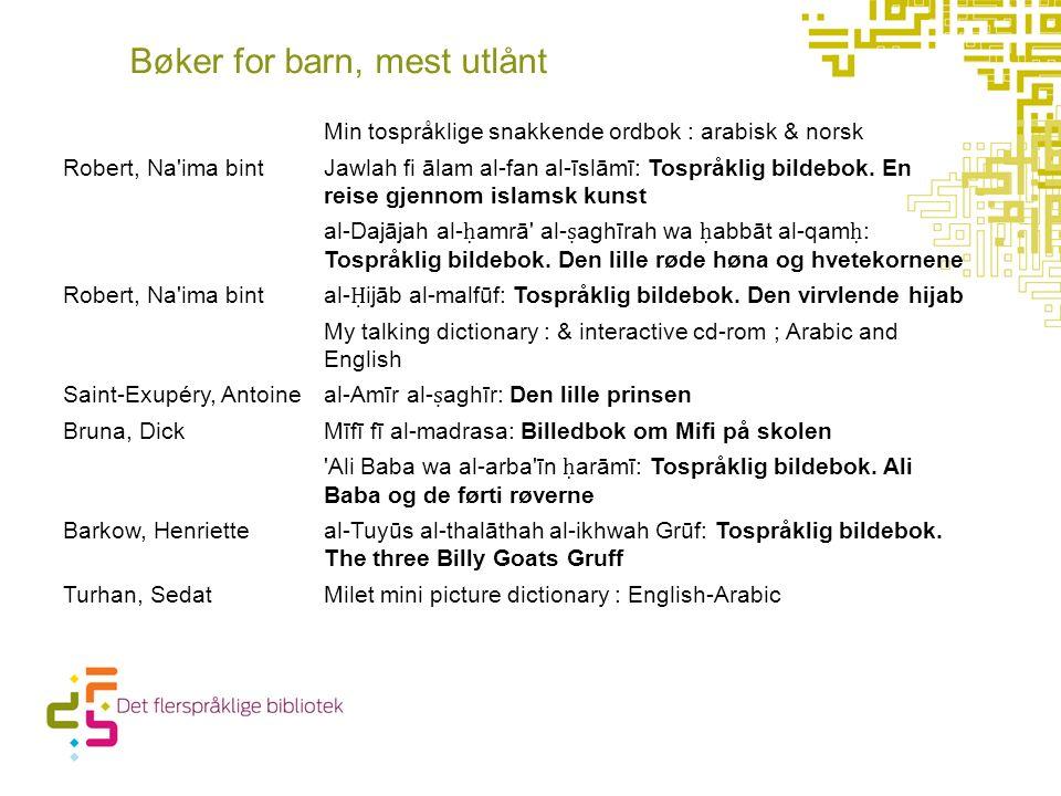 Bøker for barn, mest utlånt Min tospråklige snakkende ordbok : arabisk & norsk Robert, Na'ima bint Jawlah fi ālam al-fan al-īslāmī: Tospråklig bildebo