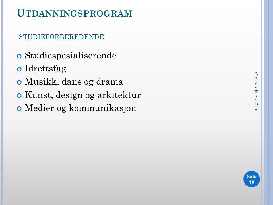 U TDANNINGSPROGRAM STUDIEFORBEREDENDE Studiespesialiserende Idrettsfag Musikk, dans og drama Kunst, design og arkitektur Medier og kommunikasjon Side 10 Gjeldende h - 2016