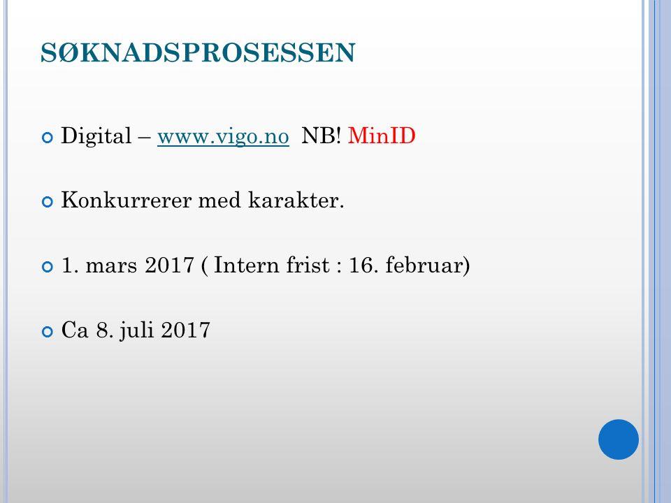 SØKNADSPROSESSEN Digital – www.vigo.no NB. MinIDwww.vigo.no Konkurrerer med karakter.