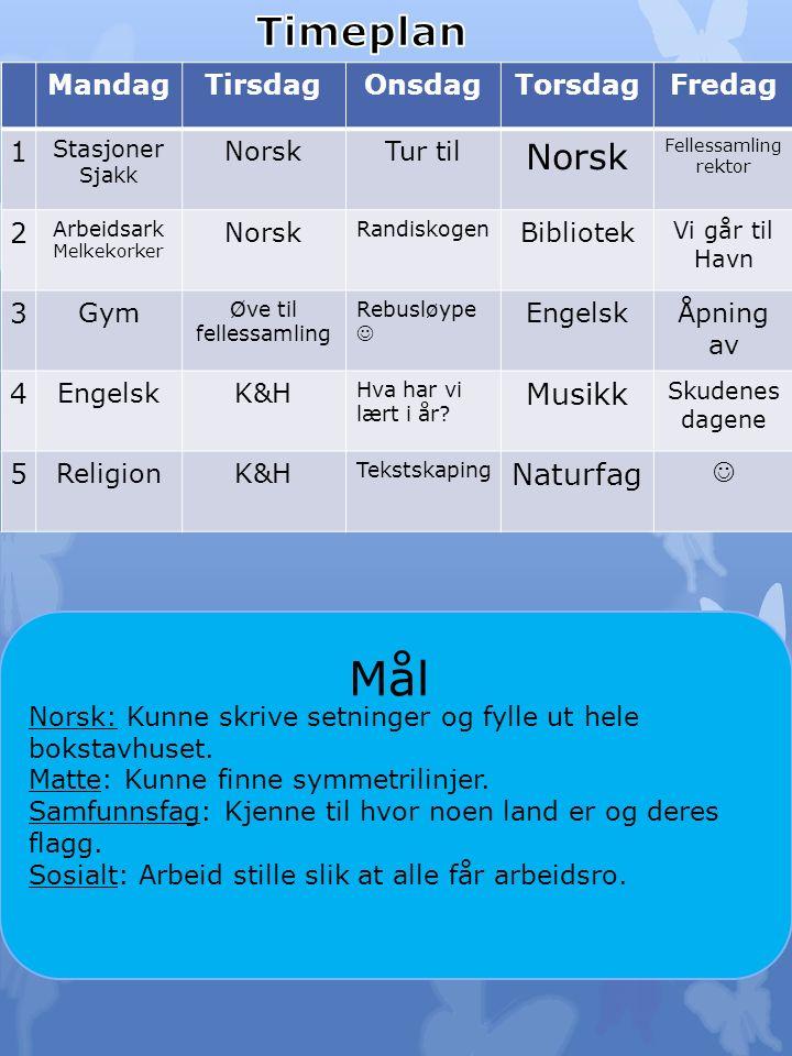 Til tirsdag: Norsk: Les s.125 i leseboka di. Les tre ganger for en voksen.
