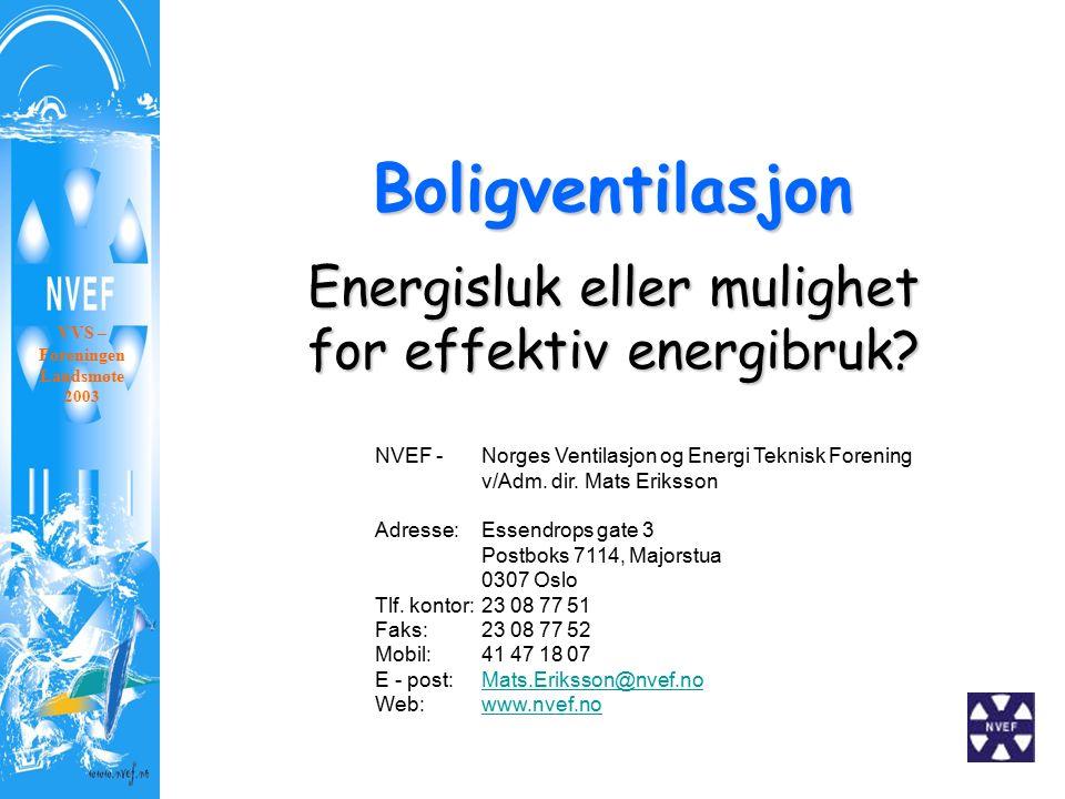 Boligventilasjon Energisluk eller mulighet for effektiv energibruk? VVS – Foreningen Landsmøte 2003 NVEF - Norges Ventilasjon og Energi Teknisk Foreni