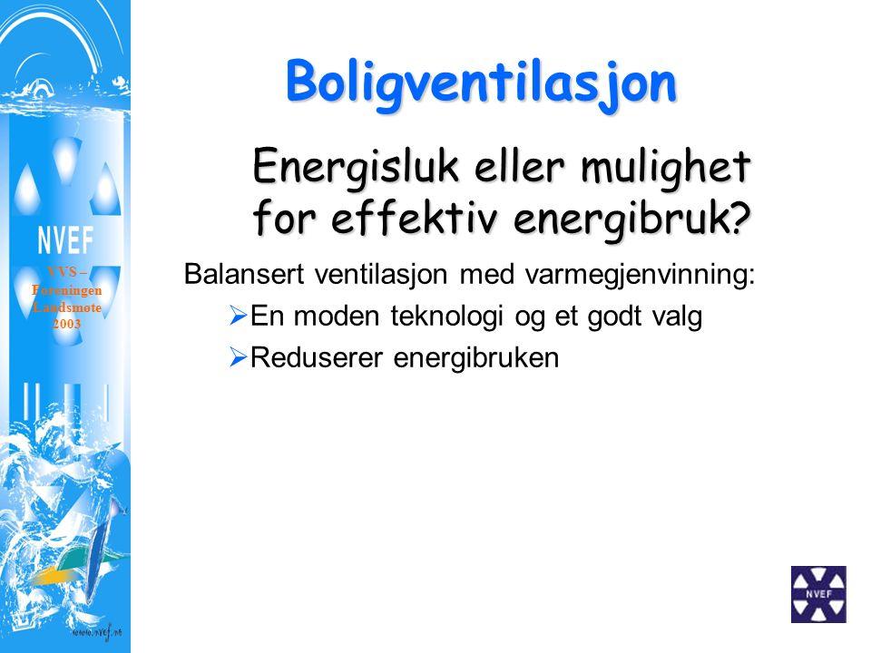 Boligventilasjon VVS – Foreningen Landsmøte 2003 Energisluk eller mulighet for effektiv energibruk? Balansert ventilasjon med varmegjenvinning:  En m