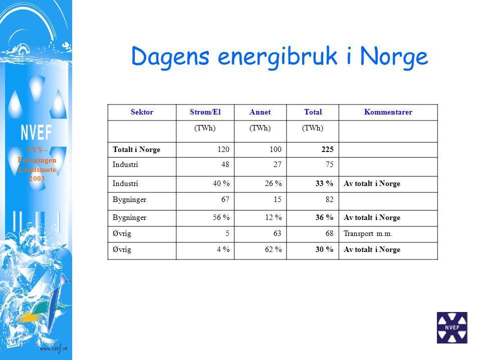 Dagens energibruk i Norge SektorStrøm/ElAnnetTotalKommentarer (TWh) Totalt i Norge120100225 Industri482775 Industri40 %26 %33 %Av totalt i Norge Bygninger671582 Bygninger56 %12 %36 %Av totalt i Norge Øvrig56368Transport m.m.
