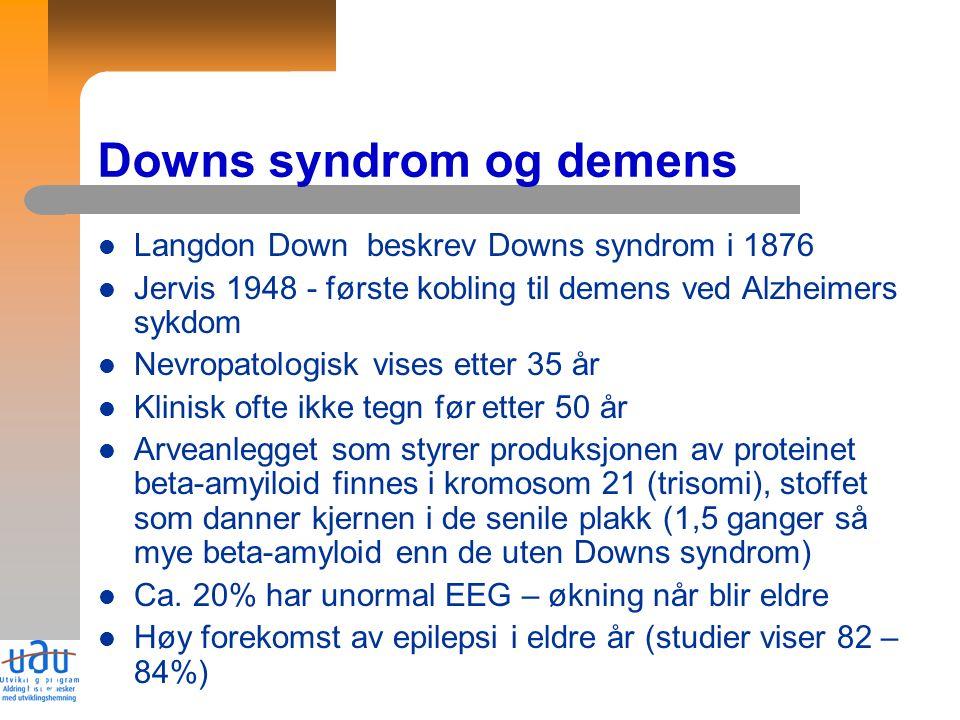 10 Langdon Down beskrev Downs syndrom i 1876 Jervis 1948 - første kobling til demens ved Alzheimers sykdom Nevropatologisk vises etter 35 år Klinisk ofte ikke tegn før etter 50 år Arveanlegget som styrer produksjonen av proteinet beta-amyiloid finnes i kromosom 21 (trisomi), stoffet som danner kjernen i de senile plakk (1,5 ganger så mye beta-amyloid enn de uten Downs syndrom) Ca.