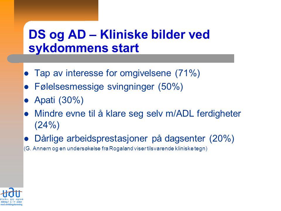 13 DS og AD – Kliniske bilder ved sykdommens start Tap av interesse for omgivelsene (71%) Følelsesmessige svingninger (50%) Apati (30%) Mindre evne ti