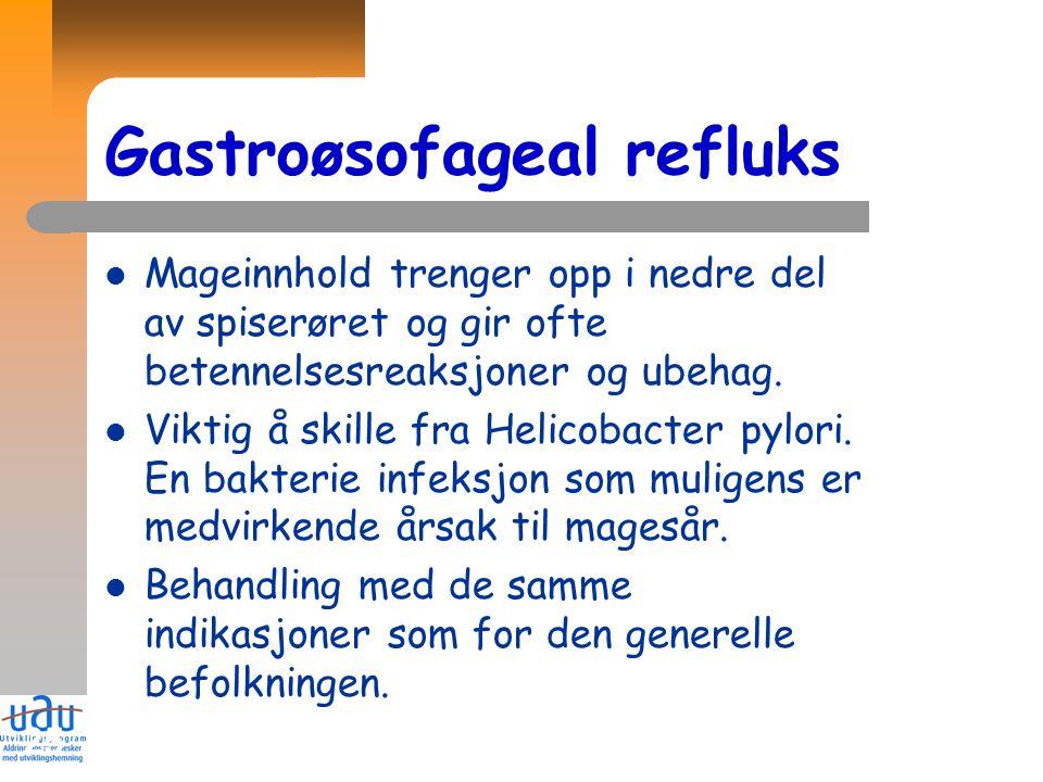 25 Gastroøsofageal refluks Mageinnhold trenger opp i nedre del av spiserøret og gir ofte betennelsesreaksjoner og ubehag. Viktig å skille fra Helicoba