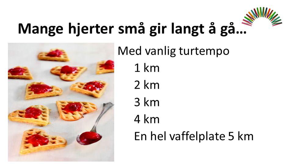 Mange hjerter små gir langt å gå… Med vanlig turtempo 1 km 2 km 3 km 4 km En hel vaffelplate 5 km