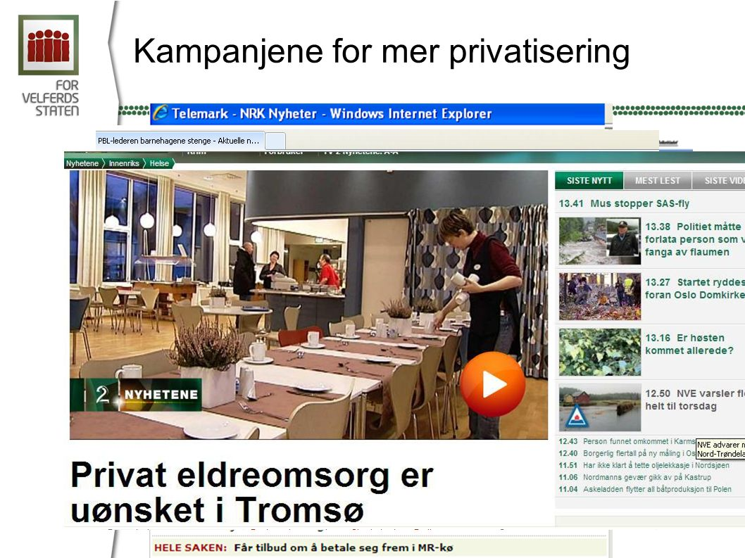 Kampanjene for mer privatisering
