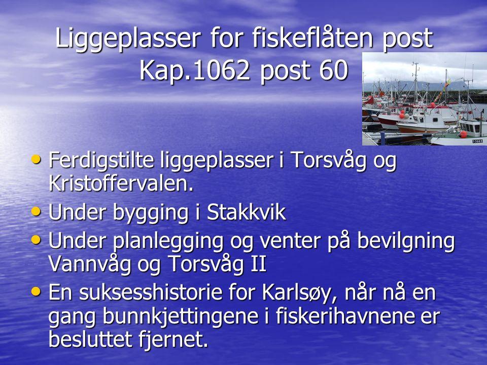 Liggeplasser for fiskeflåten post Kap.1062 post 60 Ferdigstilte liggeplasser i Torsvåg og Kristoffervalen. Ferdigstilte liggeplasser i Torsvåg og Kris