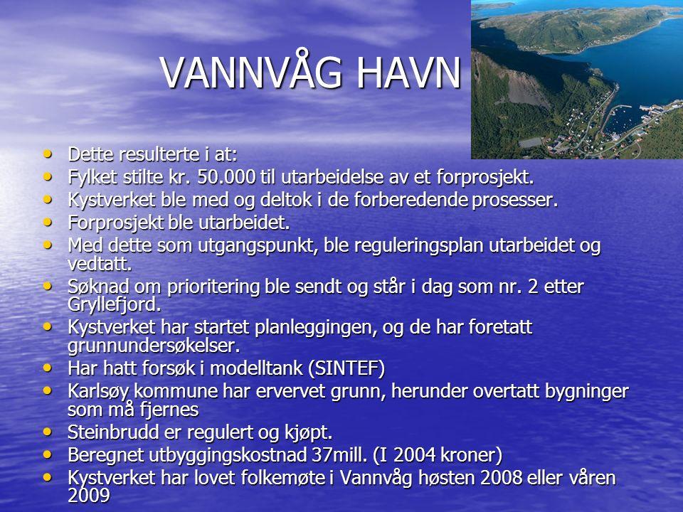 VANNVÅG HAVN VANNVÅG HAVN Dette resulterte i at: Dette resulterte i at: Fylket stilte kr. 50.000 til utarbeidelse av et forprosjekt. Fylket stilte kr.