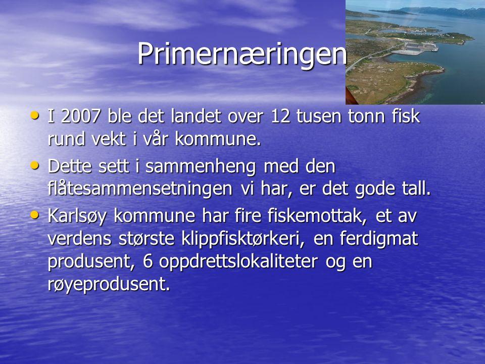 Primernæringen I 2007 ble det landet over 12 tusen tonn fisk rund vekt i vår kommune. I 2007 ble det landet over 12 tusen tonn fisk rund vekt i vår ko