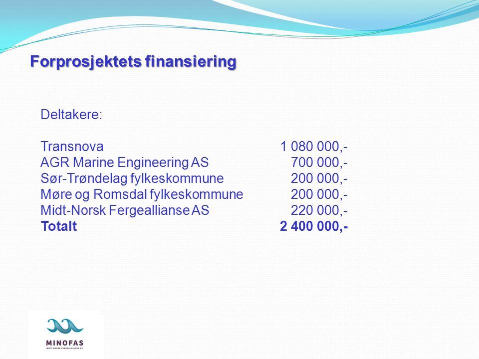 Forprosjektets finansiering Deltakere: Transnova1 080 000,- AGR Marine Engineering AS 700 000,- Sør-Trøndelag fylkeskommune 200 000,- Møre og Romsdal