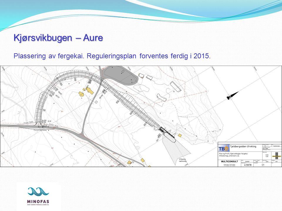 Kjørsvikbugen – Aure Plassering av fergekai. Reguleringsplan forventes ferdig i 2015.