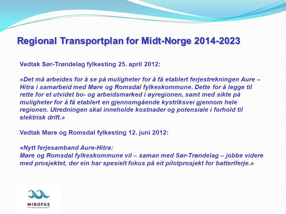 Vedtak Sør-Trøndelag fylkesting 25. april 2012: «Det må arbeides for å se på muligheter for å få etablert ferjestrekningen Aure – Hitra i samarbeid me