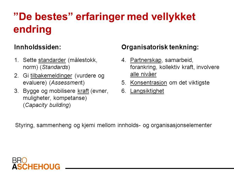 Innholdssiden: 1.Sette standarder (målestokk, norm) (Standards) 2.Gi tilbakemeldinger (vurdere og evaluere) (Assessment) 3.Bygge og mobilisere kraft (evner, muligheter, kompetanse) (Capacity building) Organisatorisk tenkning: 4.Partnerskap, samarbeid, forankring, kollektiv kraft, involvere alle nivåer 5.Konsentrasjon om det viktigste 6.Langsiktighet De bestes erfaringer med vellykket endring Styring, sammenheng og kjemi mellom innholds- og organisasjonselementer