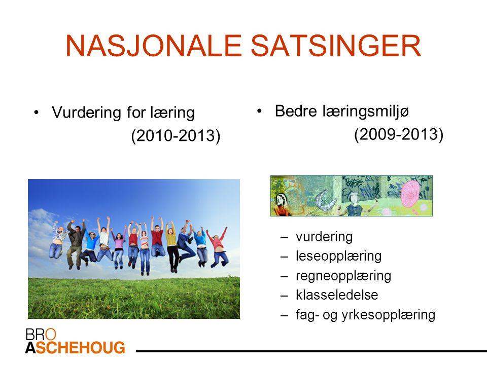 NASJONALE SATSINGER Vurdering for læring (2010-2013) Bedre læringsmiljø (2009-2013) –vurdering –leseopplæring –regneopplæring –klasseledelse –fag- og yrkesopplæring