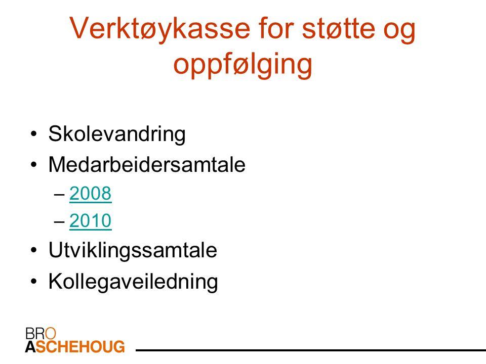 Verktøykasse for støtte og oppfølging Skolevandring Medarbeidersamtale –20082008 –20102010 Utviklingssamtale Kollegaveiledning