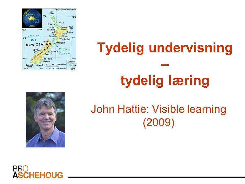 Tydelig undervisning – tydelig læring John Hattie: Visible learning (2009)