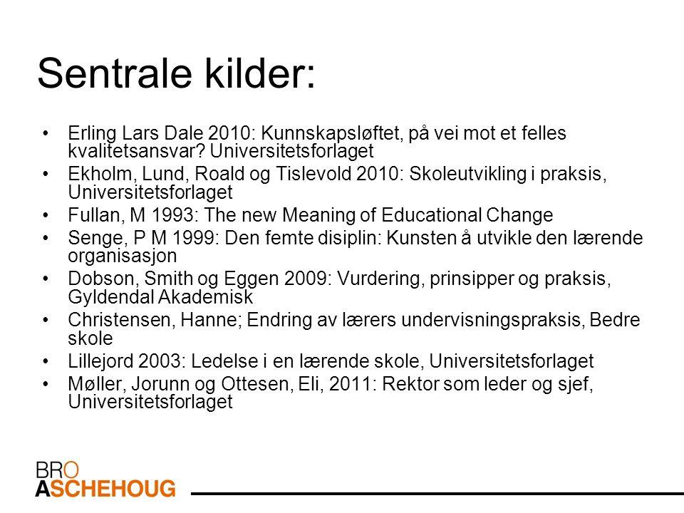 Sentrale kilder: Erling Lars Dale 2010: Kunnskapsløftet, på vei mot et felles kvalitetsansvar.