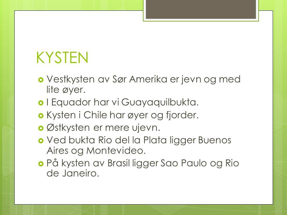 KYSTEN  Vestkysten av Sør Amerika er jevn og med lite øyer.